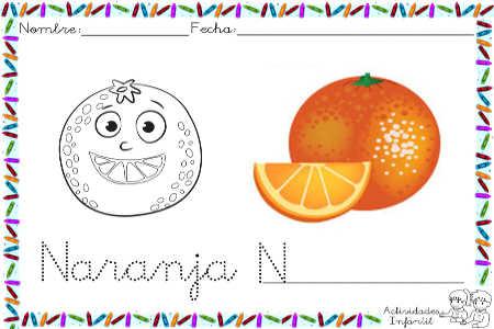 Dibujo de naranja para colorear. - Actividades infantil