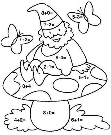 Dibujo de gnomo con sumas y restar para colorear  Actividades