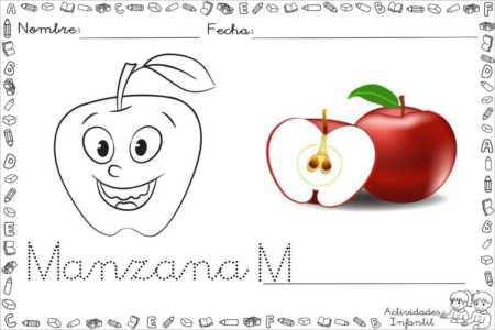 Dibujo divertido de manzana para colorear - Actividades infantil