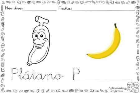 Dibujo divertido de plátano para colorear - Actividades infantil