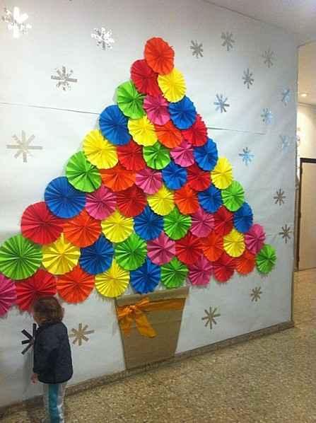 Rbol de navidad con papel de colores actividades infantil - Arboles de navidad de manualidades ...