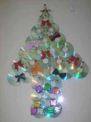 Rbol de navidad con cd s reciclados actividades infantil for Arbol de navidad mural