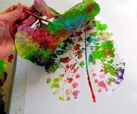 hoja estampada de colores
