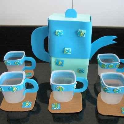 Juego De Cafe Con Material Reciclado Para El Rincon De La Cocinita