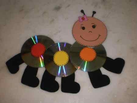 Un simp tico gusanito con cds reciclados actividades for Cd reciclados decoracion