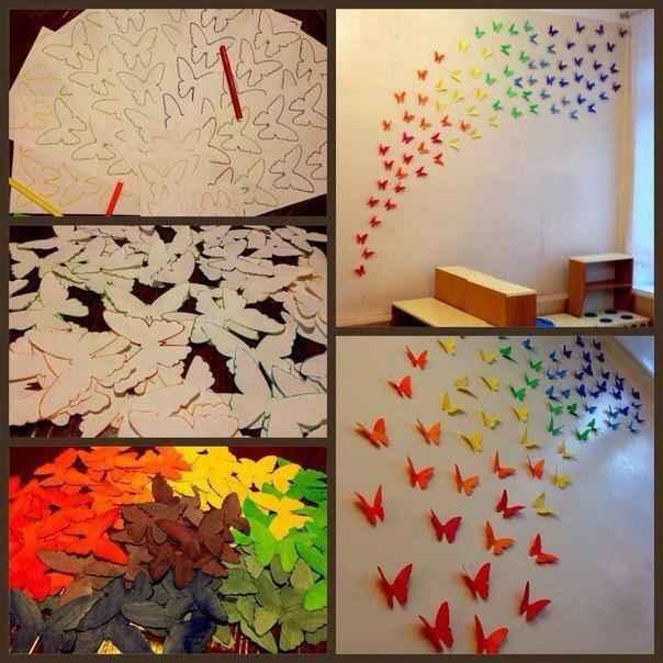 Mural para el aula un arcoiris de mariposas actividades for Como decorar un mural