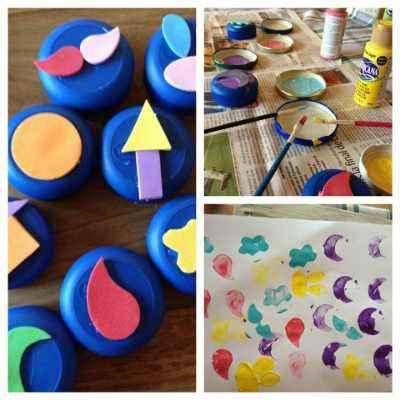C mo reutilizar tapones de pl stico para estampar con pintura actividades infantil - Pintura para plastico ...