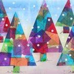 Árboles multicolores para la tapa del álbum de Navidad