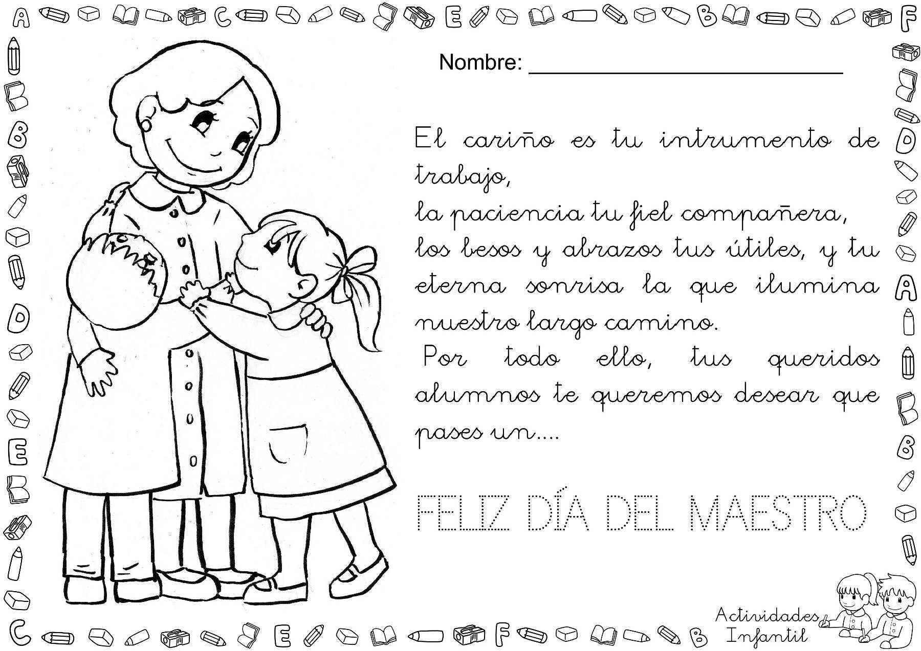 Feliz día del maestro actividades infantil