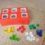 Un juego matemático con material reciclado para aprender a clasificar los colores