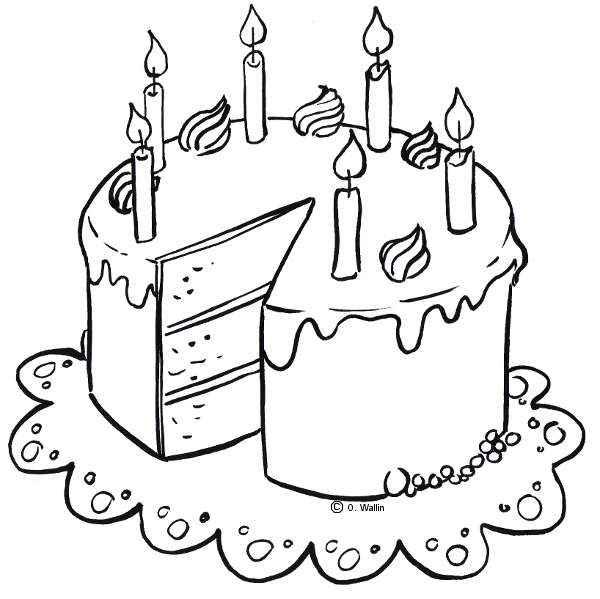 Dibujo de pastel de cumpleaños para colorear | Actividades infantil