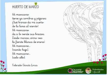 Poema Para El Mes De Marzo Actividades Infantil