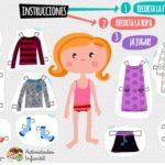 Recortable de muñeca con vestuario descargable en pdf