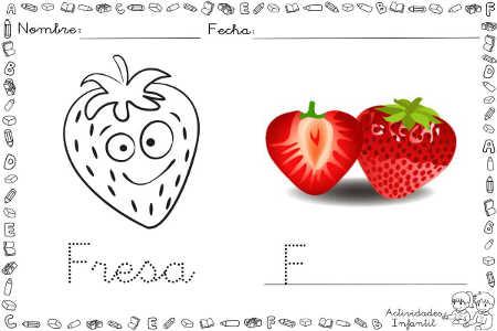 Dibujo divertido de fresa para colorear | Actividades infantil