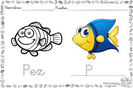 Dibujo de pez para colorear | Actividades infantil