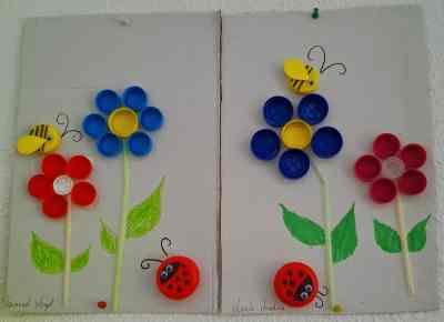 Creamos un cuadro de primavera con tapones