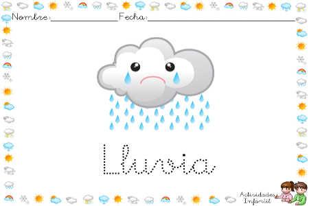 Ficha para trabajar el tiempo atmosférico, la lluvia minúsculas
