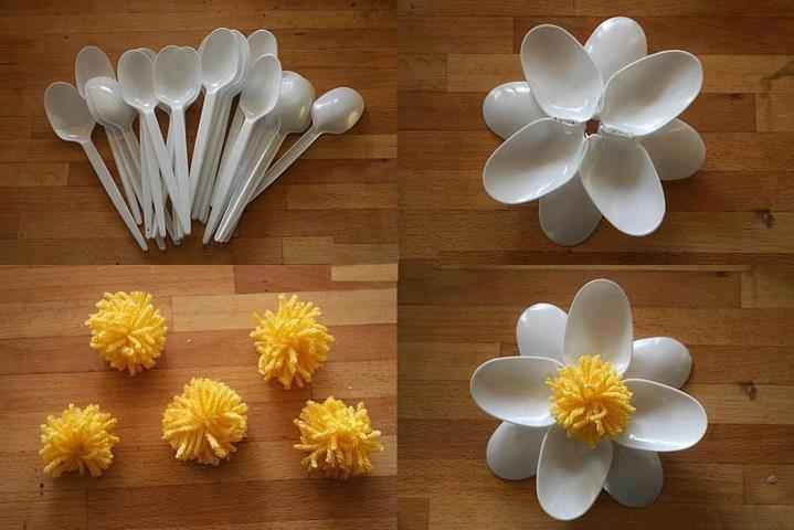 flores con cucharillas