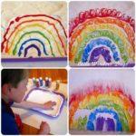 Trabajamos los sentidos con espuma y pintura de colores