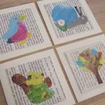 Preciosos cuadros de motivos infantiles con cuentos reciclados para decorar el rincón de la biblioteca